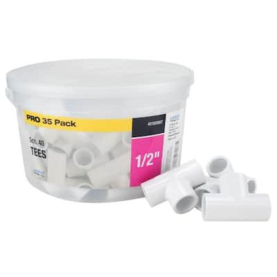 1/2 in. x 1/2 in. x 1/2 in. Sch. 40 PVC Tee Fitting (35-Pack)
