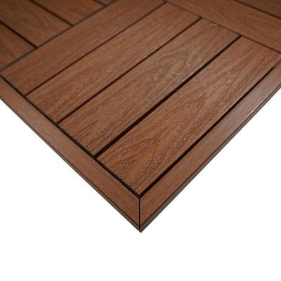 1/6 ft. x 1 ft. Quick Deck Composite Deck Tile Outside Corner Trim in Honduran Mahogany (2-Pieces/Box)