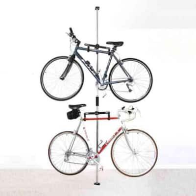 Sparehand Q-Rak II Floor-To-Ceiling Freestanding Adjustable Bike Rack Storage, Max Weight Limit 80 lbs., Black