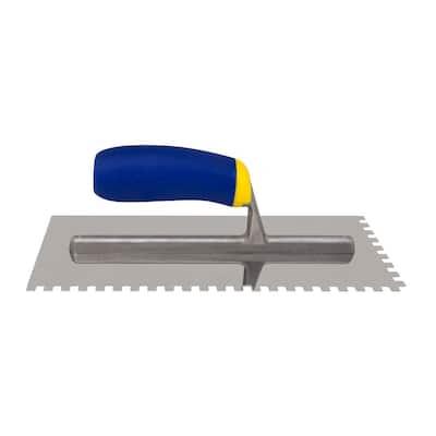 1/4 in. x 1/4 in. x 1/4 in. Comfort Grip Stainless Steel Square-Notch Flooring Trowel