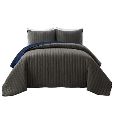 Soft Stripe All Season Gray/Navy Quilt/Coverlet Full/Queen Set (3-Piece)