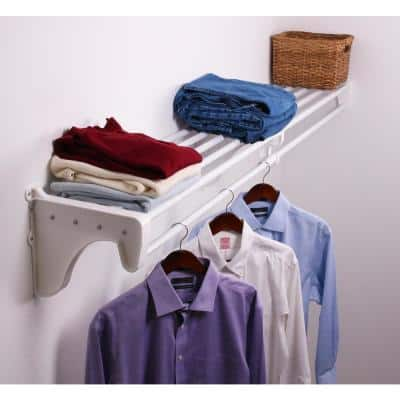 Expandable Closet Shelf & Rod 65 in. W- 119 in. W, White,Mounts to 1 Side & Back Wall (1 End Bracket),Wire,Closet System