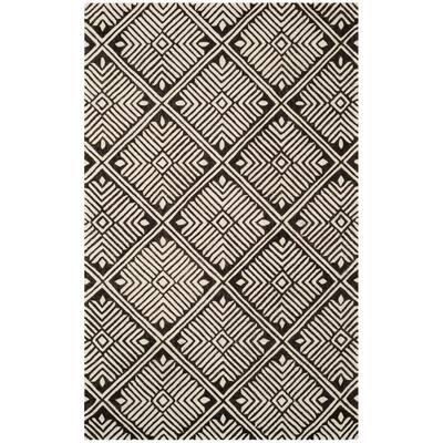 Cambridge Ivory/Charcoal 4 ft. x 6 ft. Geometric Area Rug