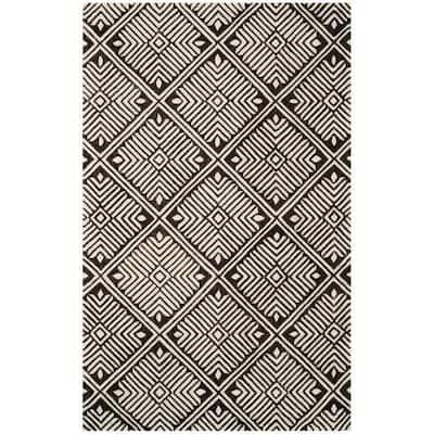 Cambridge Ivory/Charcoal 5 ft. x 8 ft. Geometric Area Rug
