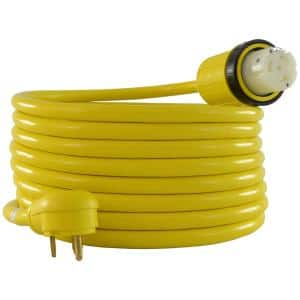 25 ft. TT-30P to SS2-50R 30 Amp 125-Volt STW 10/3 Yellow RV Power Supply Cord