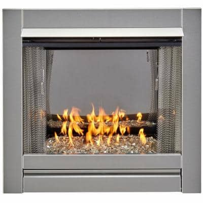 Duluth Forge Vent Free Stainless Outdoor Gas Fireplace Insert With Crystal Fire Glass Media - 24,000 BTU