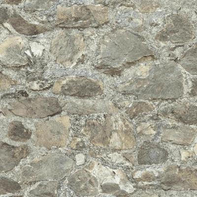 Weathered Stone Vinyl Peel & Stick Wallpaper Roll (Covers 28.18 Sq. Ft.)