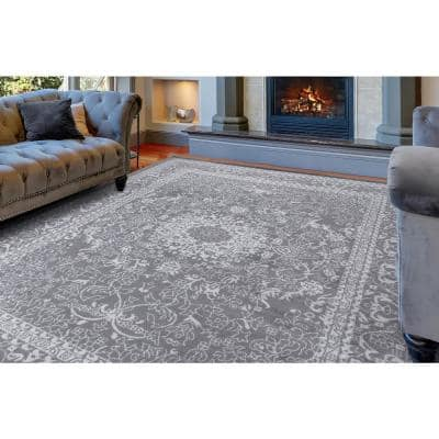 Jasmin Collection Oriental Medallion Design Gray and Ivory 7 ft. 8 in. x 9 ft. 8 in. Area Rug