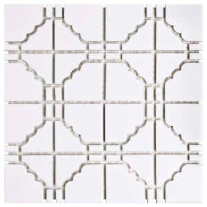 Osaka Glossy White 12 in. x 12 in. Porcelain Mosaic Tile (9.79 sq. ft. / Case)