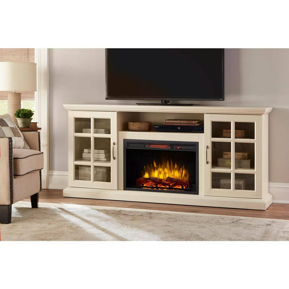 Reviews For Home Decorators Collection Edenfield 70 In Freestanding Infrared Electric Fireplace Tv Stand In Aged White 365 741 165 Y The Home Depot