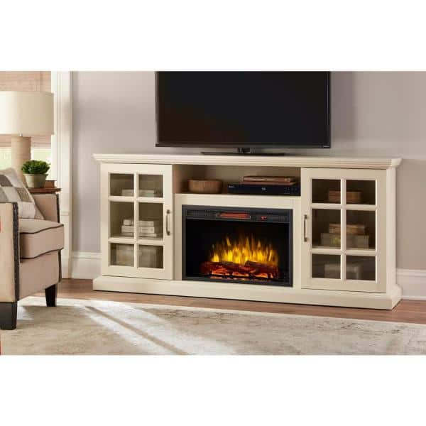 Home Decorators Collection Edenfield 70 In Freestanding Infrared Electric Fireplace Tv Stand In Aged White 365 741 165 Y The Home Depot