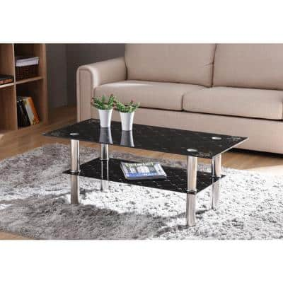 40 in. Black Medium Rectangle Glass Coffee Table with Chrome Plated Legs