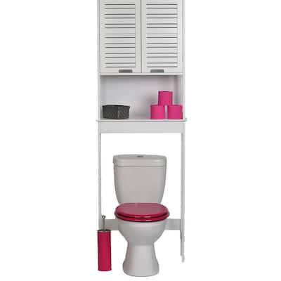 Miami 24.8 in. W x 70.5 in. H 9 in. D White Over-the-Toilet Storage