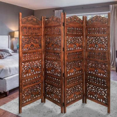 Traditional Brown Wooden Carved 4-Panel Room Divider Screen with Intricate Cutout Details