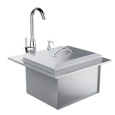 Premium Drop In Sink with Hot and Cold Water Faucet and Cutting Board