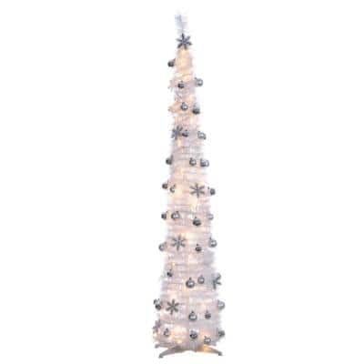 6 ft. H White PopUp Decorated Tree