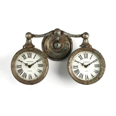 Rustic Iron Duo Roman Numerals on Antique White Face Clock