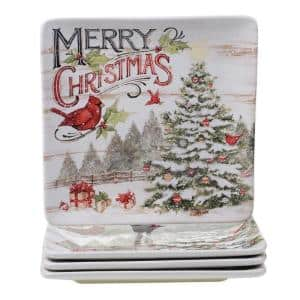 Evergreen Christmas Multicolored Earthenware 10.5 in. Dinner Plate (Set of 4)