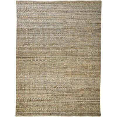 Eckhart Golden Brown/Gray 8 ft. x 10 ft. Abstract Wool Area Rug
