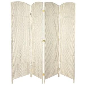 6 ft. White 4-Panel Room Divider