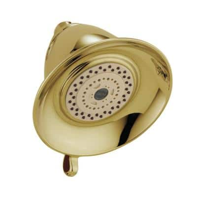 Victorian 3-Spray 5.5 in. Single Wall Mount Fixed Shower Head in Polished Brass