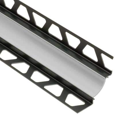 Dilex-HKW Classic Grey 11/32 in. x 8 ft. 2-1/2 in. PVC Cove-Shaped Tile Edging Trim