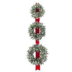 Glittery Bristle Triple 77 in. Artificial Wreath Door Hang with Battery Operated Warm White LED Lights