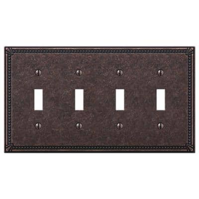 Imperial Bead 4 Gang Toggle Metal Wall Plate - Tumbled Aged Bronze