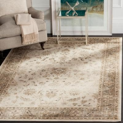 Vintage Stone/Mouse 9 ft. x 12 ft. Border Area Rug