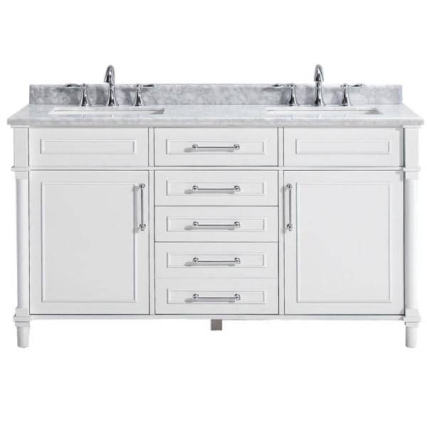 Home Decorators Collection Aberdeen 60 In W Double Vanity In White With Carrara Marble Top With White Sinks Aberdeen 60w The Home Depot