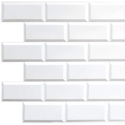 3D Falkirk Retro II 38 in. x 19 in. White Faux Bricks PVC Wall Panel (10-Pack)