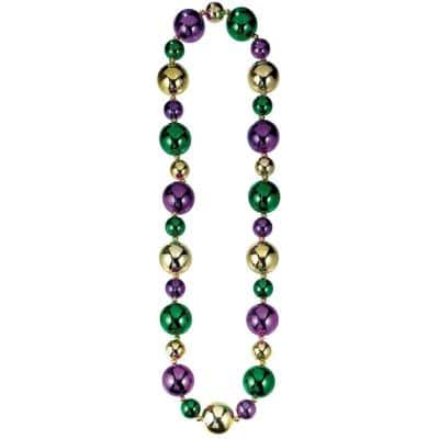 Green, Purple and Gold Plastic Mardi Grass Large Bead Necklaces (2-Pack)
