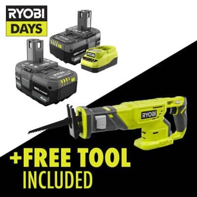 ONE+ 18V Lithium-Ion 4.0 Ah Compact Battery (2-Pack) and Charger Kit with Free Cordless Reciprocating Saw