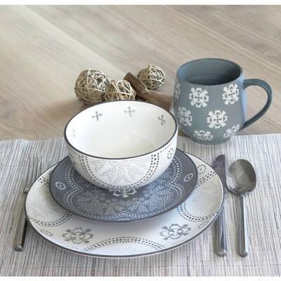 Phara 16-Piece Grey Dinnerware Set