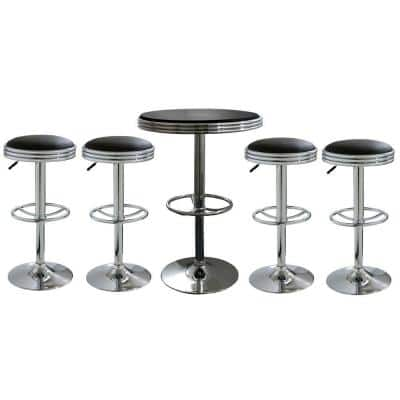 Vintage Style Soda Shop Adjustable Height Bar Table Set in Black with Adjustable Vinyl Padded Chrome Chairs (5-Piece)