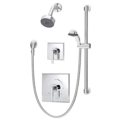 Duro 2-Handle 1-Spray Shower Trim with 1-Spray Hand Shower in Polished Chrome (Valve not Included)