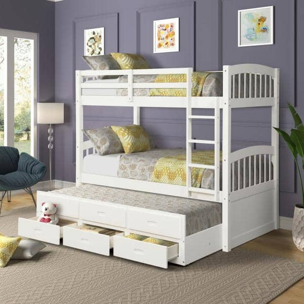 Harper Bright Designs White Chamblee Twin Over Twin Bunk Bed With Trundle And Drawers Sm000093aak 1 The Home Depot