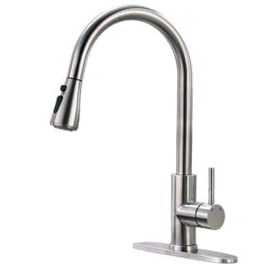 Modern Single-Handle Pull-Down Sprayer Kitchen Faucet with Lead-free in Stainless Steel Brushed Nickel Silver