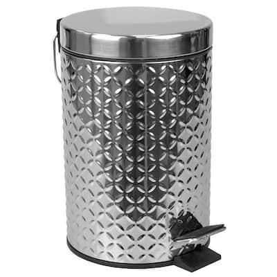 Embossed 0.79 Gal. Stainless Steel Trash Can