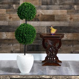 4 ft. Indoor/Outdoor Boxwood Double Ball Artificial Topiary Tree in White Planter UV Resistant