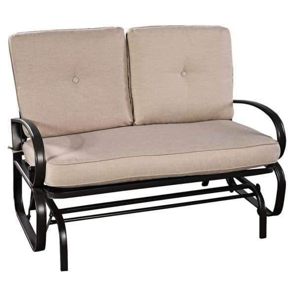 Costway 2 Person Metal Outdoor Patio, Outdoor Rocking Bench With Cushions