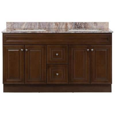 Glensford 61 in. W x 22 in. D Vanity in Butterscotch with Stone Effects Vanity Top in Cold Fusion with White Sinks
