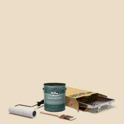 1 gal. #N290-2 Authentic Tan Extra Durable Semi-Gloss Enamel Interior Paint & 5-Piece Wooster Set All-in-One Project Kit