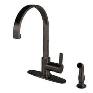 Modern Single-Handle Standard Kitchen Faucet with Side Sprayer in Oil Rubbed Bronze