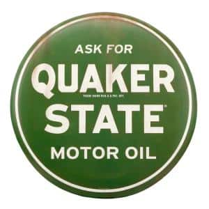 Quaker State Motor Oil Rustic Tin Button Sign