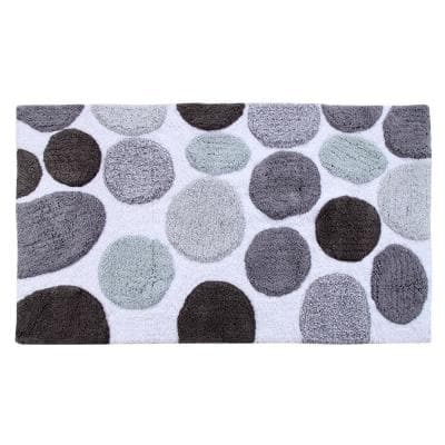 Bath Rug Cotton 34 in. x 21 in. Latex Spray Non-Skid Backing Multiple Gray Pebble Stone Pattern Machine Washable