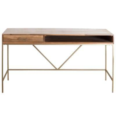 22 in. Rectangular Gold/Natural 1-Drawer Writing Desk with Shelf