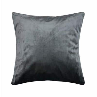 Venetian Velvet Dark Grey 18 in. x 18 in. Decorative Pillow