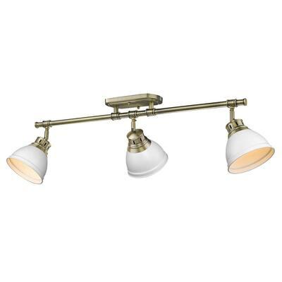 Duncan AB 35.375 in. 3-Light Aged Brass Semi-Flush Mount