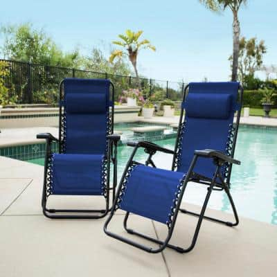 Caravan Blue Metal Infinity Zero Gravity Patio Chair (2-Pack)